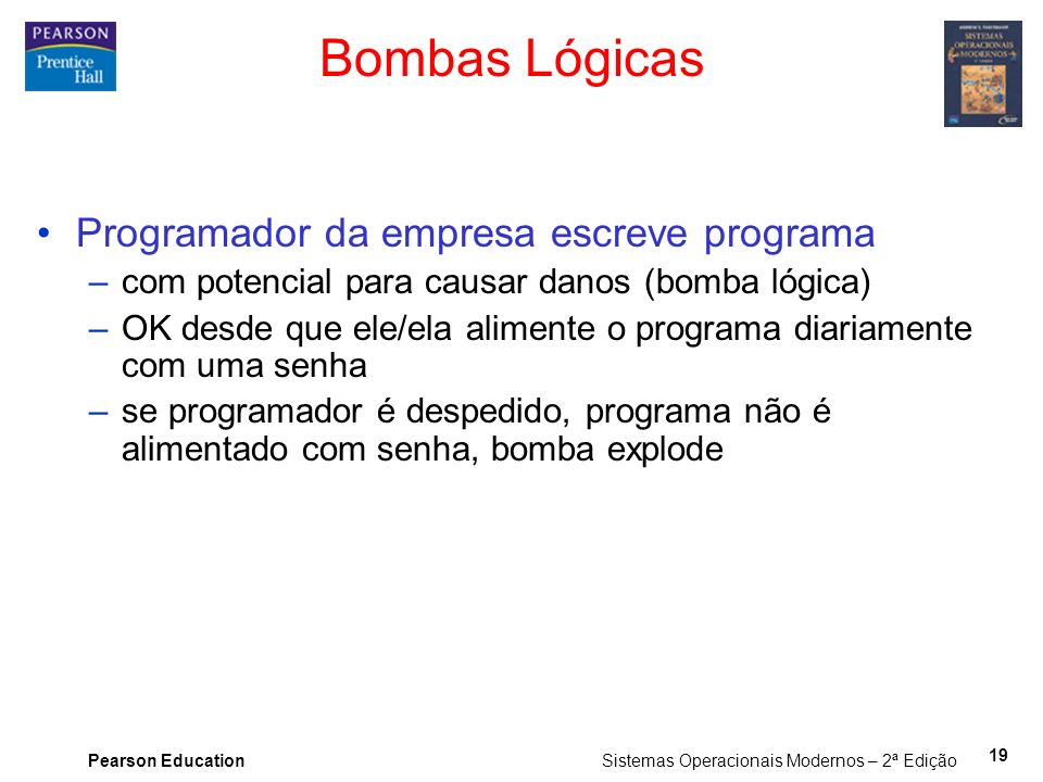 Bombas Lógicas Programador da empresa escreve programa