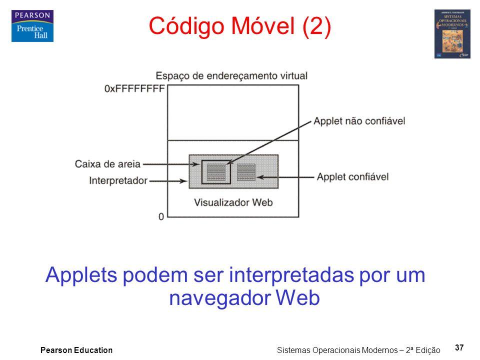 Applets podem ser interpretadas por um navegador Web