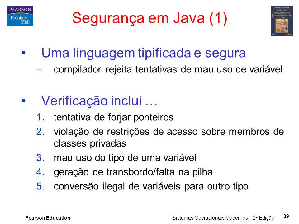 Segurança em Java (1) Uma linguagem tipificada e segura