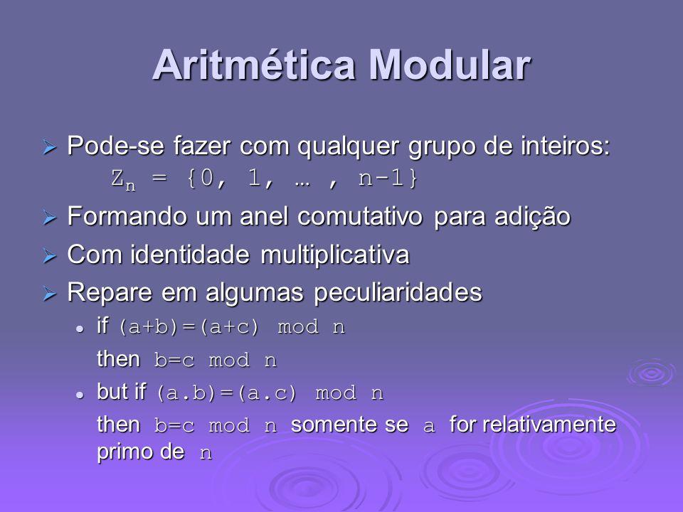 Aritmética Modular Pode-se fazer com qualquer grupo de inteiros: Zn = {0, 1, … , n-1} Formando um anel comutativo para adição.