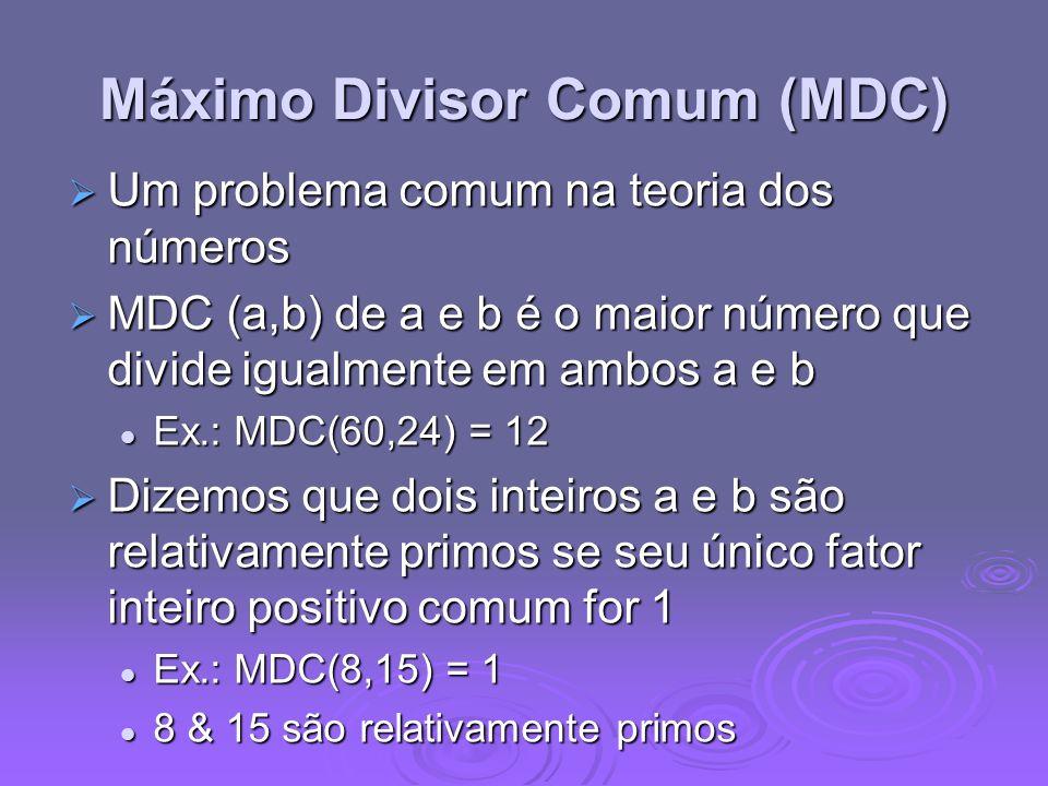 Máximo Divisor Comum (MDC)