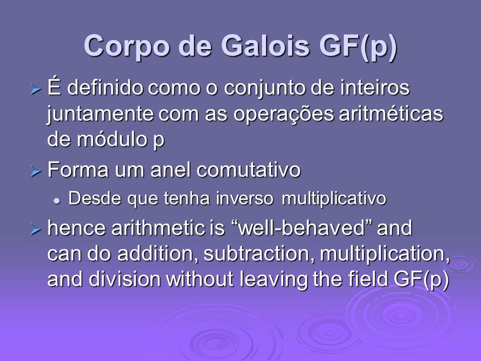 Corpo de Galois GF(p) É definido como o conjunto de inteiros juntamente com as operações aritméticas de módulo p.