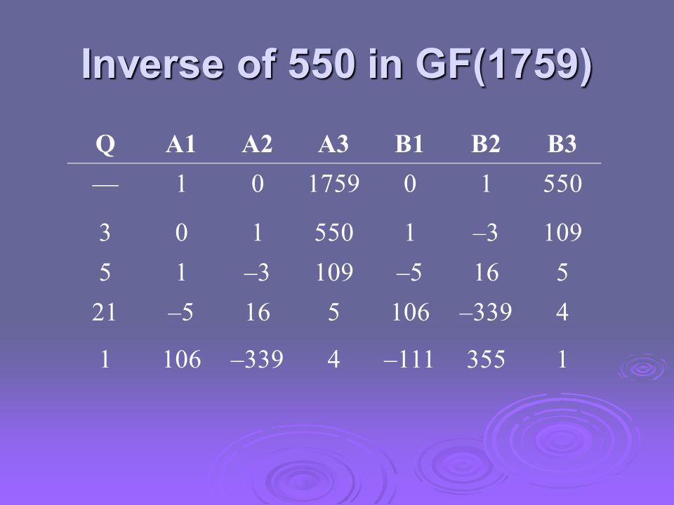 Inverse of 550 in GF(1759) Q A1 A2 A3 B1 B2 B3 — 1 1759 550 3 –3 109 5