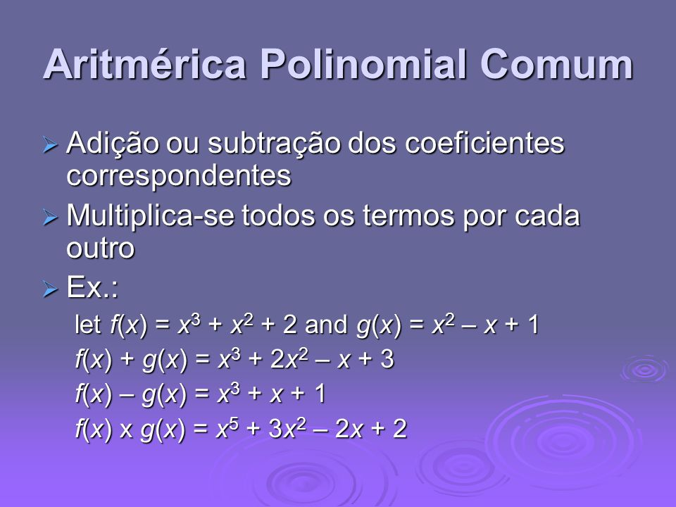Aritmérica Polinomial Comum