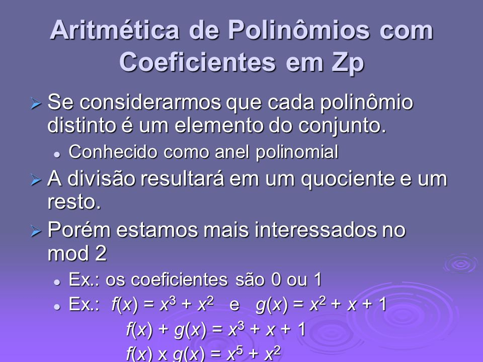 Aritmética de Polinômios com Coeficientes em Zp