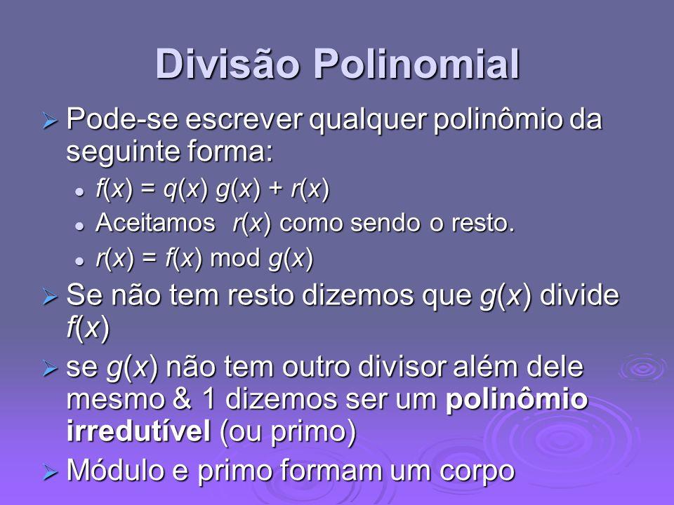 Divisão Polinomial Pode-se escrever qualquer polinômio da seguinte forma: f(x) = q(x) g(x) + r(x) Aceitamos r(x) como sendo o resto.