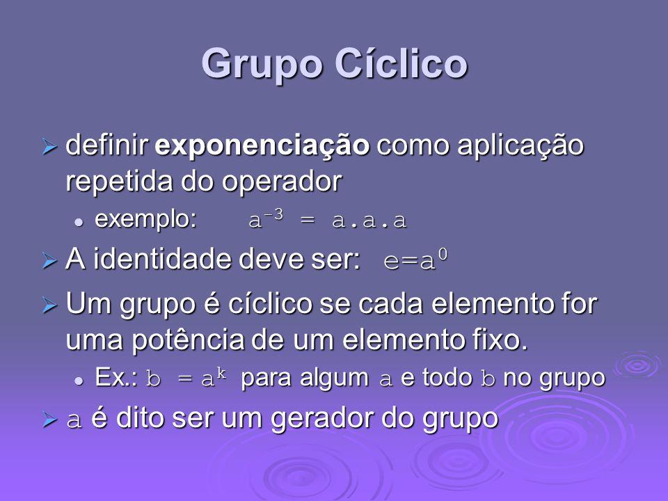 Grupo Cíclico definir exponenciação como aplicação repetida do operador. exemplo: a-3 = a.a.a. A identidade deve ser: e=a0.