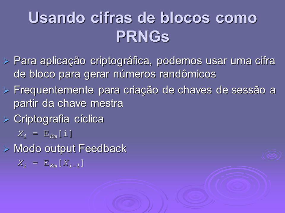 Usando cifras de blocos como PRNGs