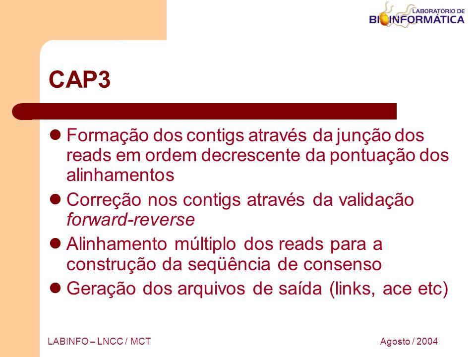 CAP3 Formação dos contigs através da junção dos reads em ordem decrescente da pontuação dos alinhamentos.