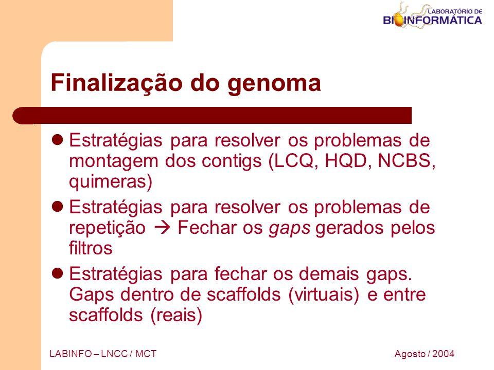 Finalização do genoma Estratégias para resolver os problemas de montagem dos contigs (LCQ, HQD, NCBS, quimeras)