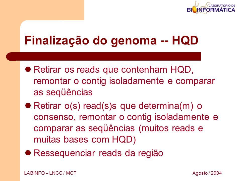 Finalização do genoma -- HQD