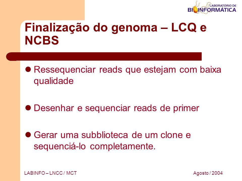 Finalização do genoma – LCQ e NCBS