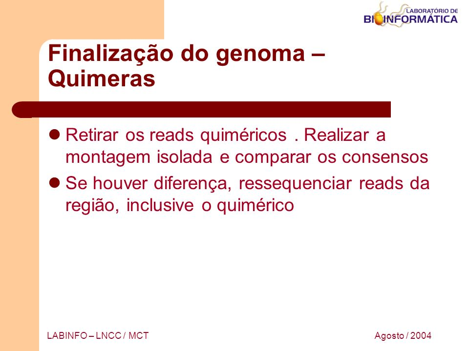 Finalização do genoma – Quimeras