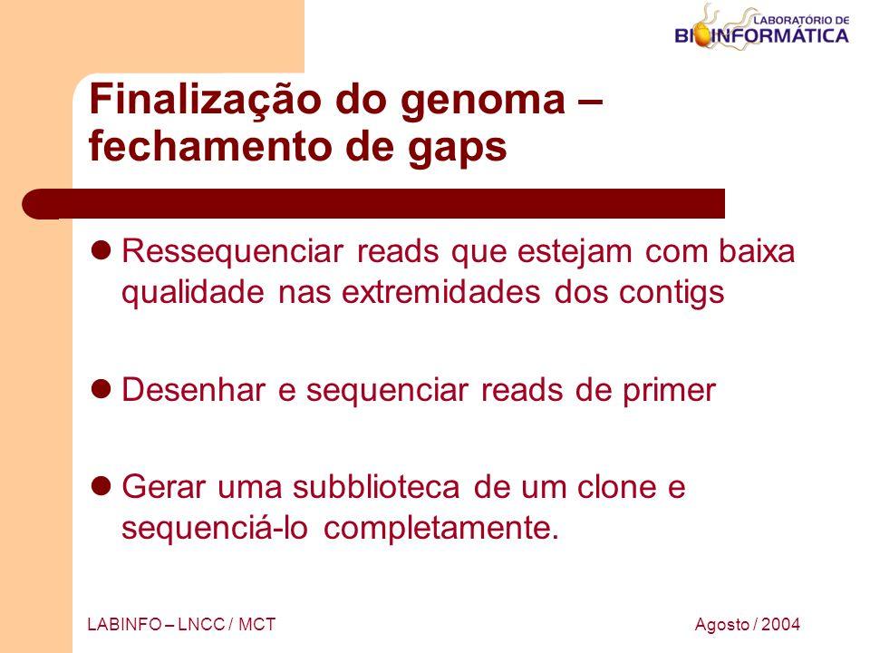 Finalização do genoma – fechamento de gaps
