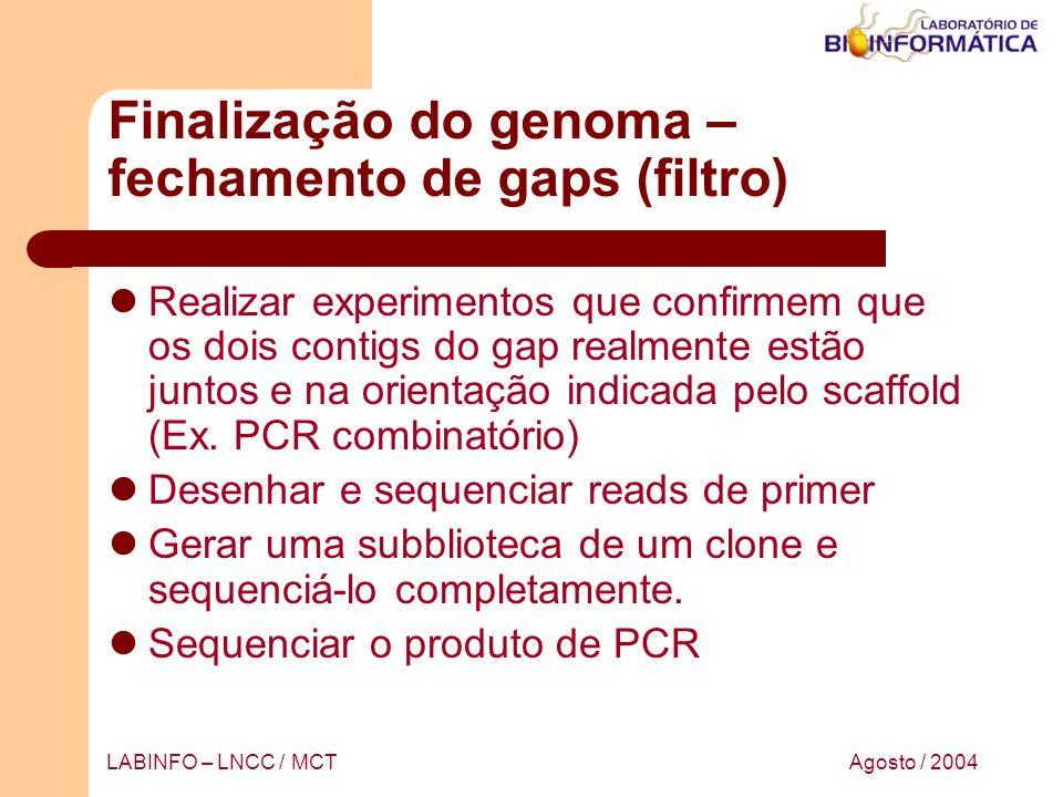 Finalização do genoma – fechamento de gaps (filtro)