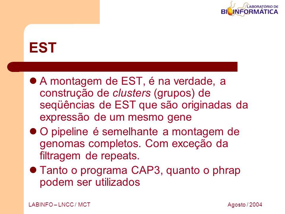 EST A montagem de EST, é na verdade, a construção de clusters (grupos) de seqüências de EST que são originadas da expressão de um mesmo gene.