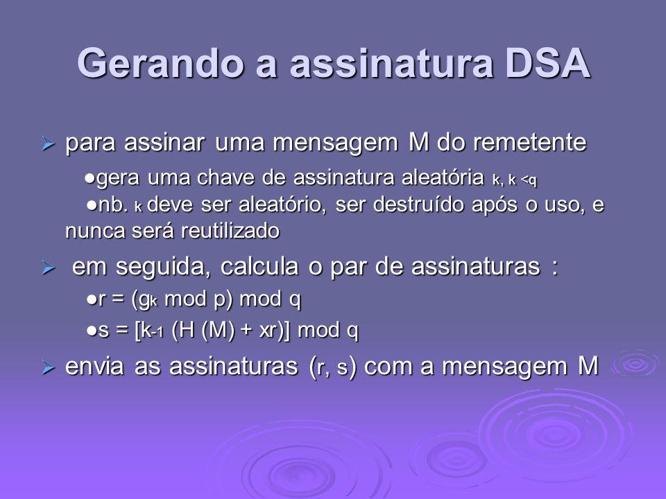 Gerando a assinatura DSA
