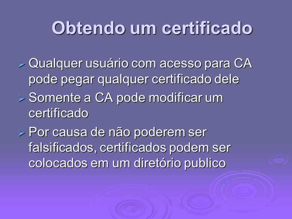 Obtendo um certificado
