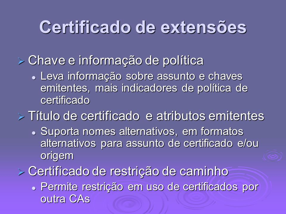 Certificado de extensões