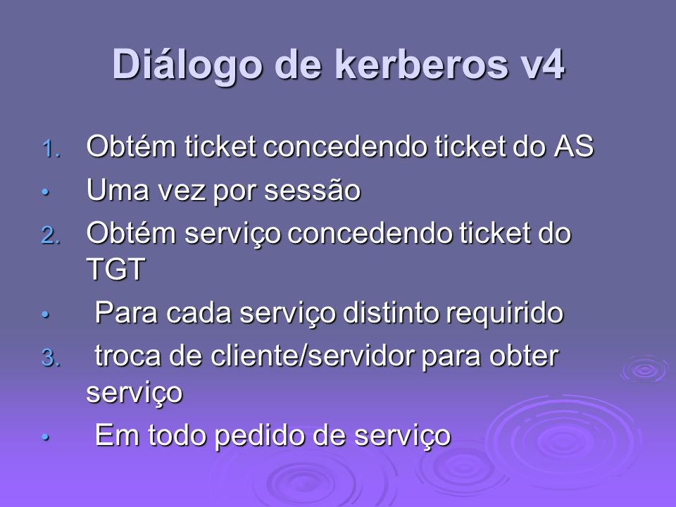 Diálogo de kerberos v4 Obtém ticket concedendo ticket do AS