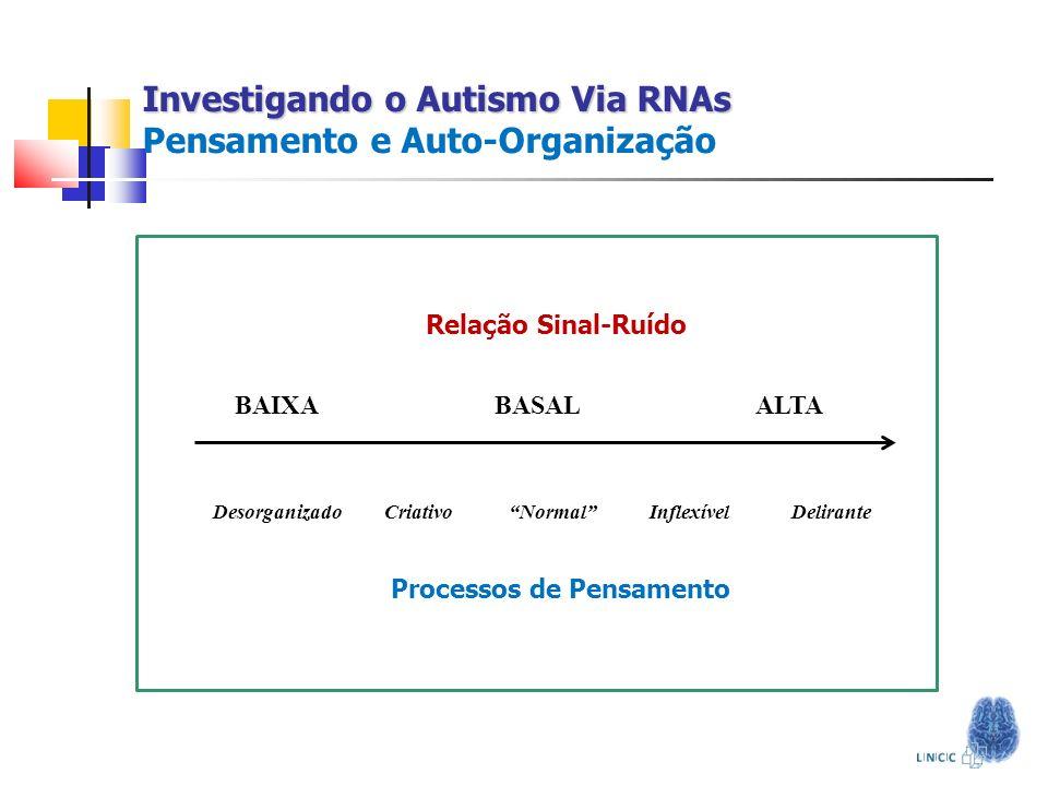 Investigando o Autismo Via RNAs Pensamento e Auto-Organização