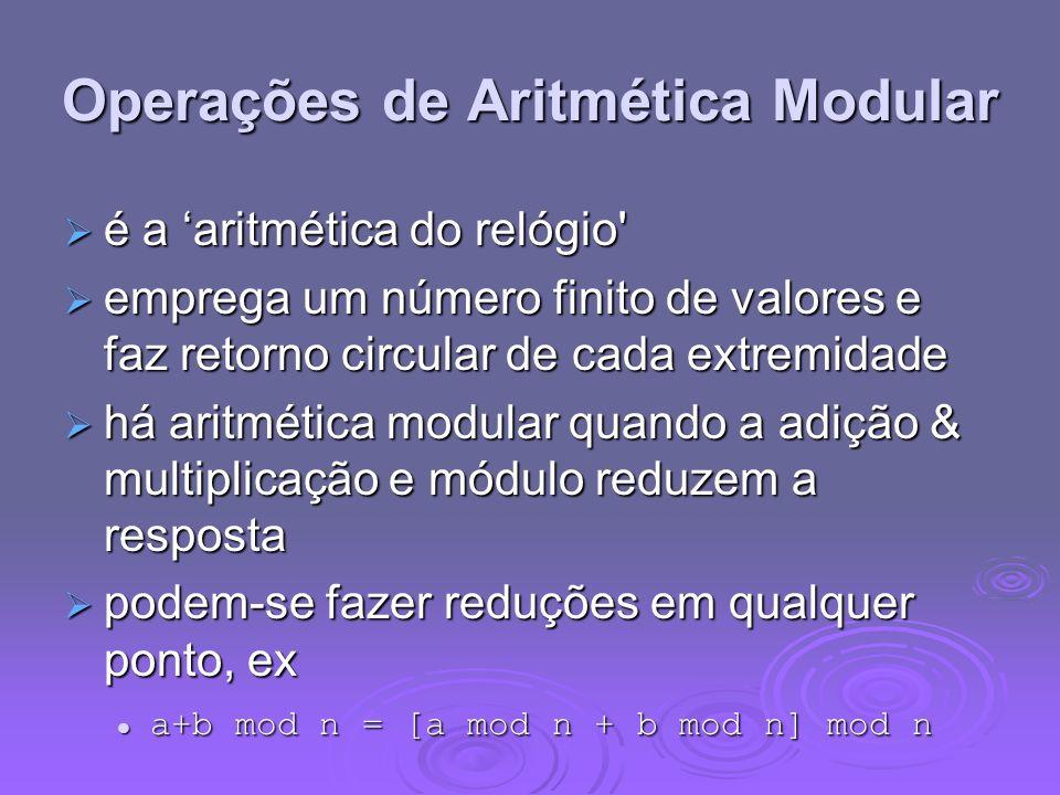 Operações de Aritmética Modular