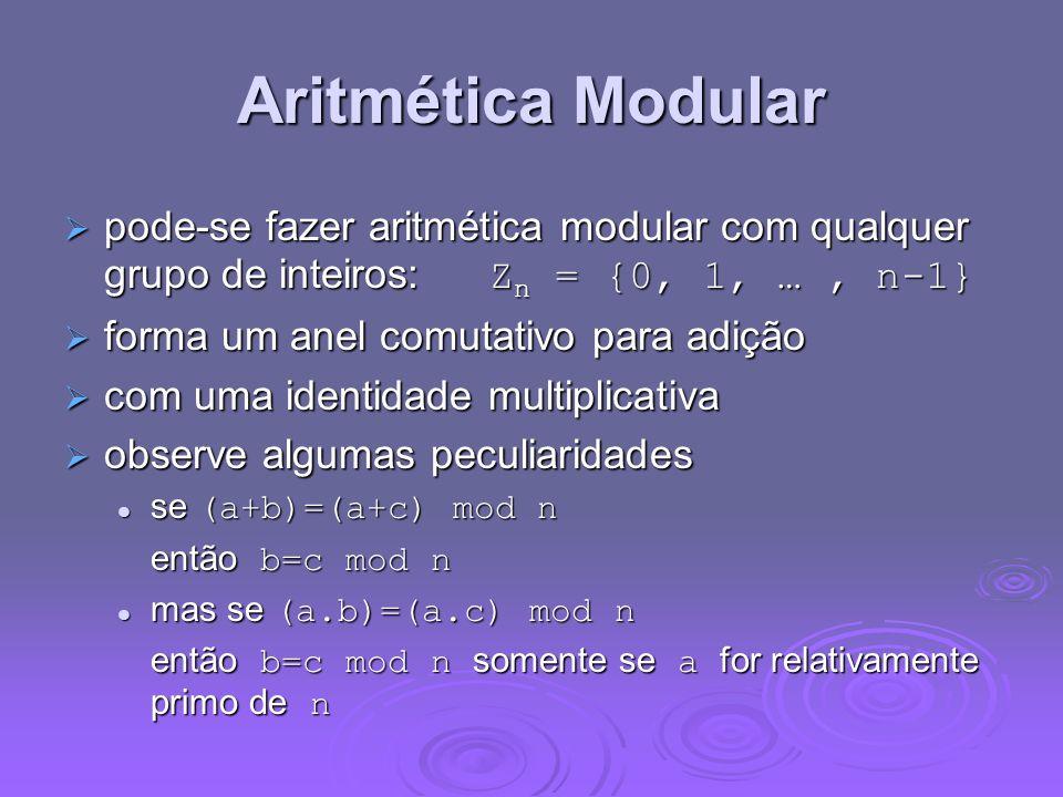 Aritmética Modular pode-se fazer aritmética modular com qualquer grupo de inteiros: Zn = {0, 1, … , n-1}