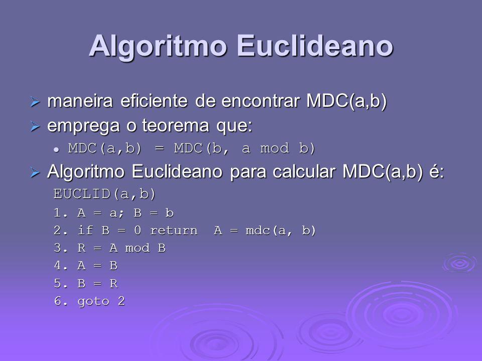 Algoritmo Euclideano maneira eficiente de encontrar MDC(a,b)