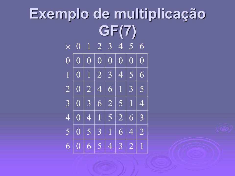 Exemplo de multiplicação GF(7)