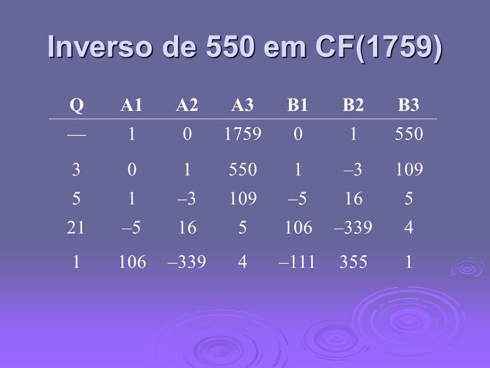 Inverso de 550 em CF(1759) Q A1 A2 A3 B1 B2 B3 — 1 1759 550 3 –3 109 5