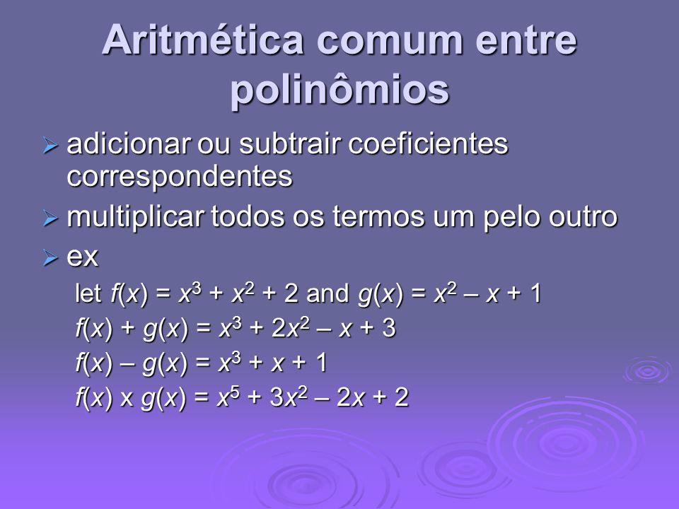 Aritmética comum entre polinômios