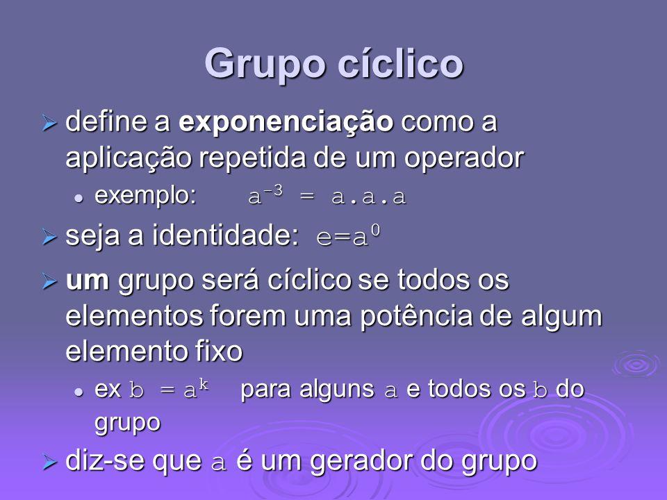Grupo cíclico define a exponenciação como a aplicação repetida de um operador. exemplo: a-3 = a.a.a.