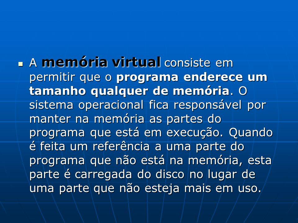 A memória virtual consiste em permitir que o programa enderece um tamanho qualquer de memória.
