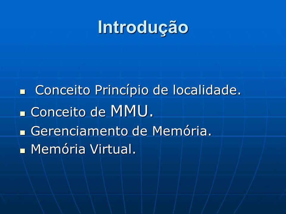 Introdução Conceito Princípio de localidade. Conceito de MMU.