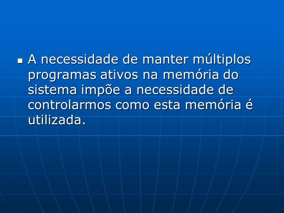 A necessidade de manter múltiplos programas ativos na memória do sistema impõe a necessidade de controlarmos como esta memória é utilizada.