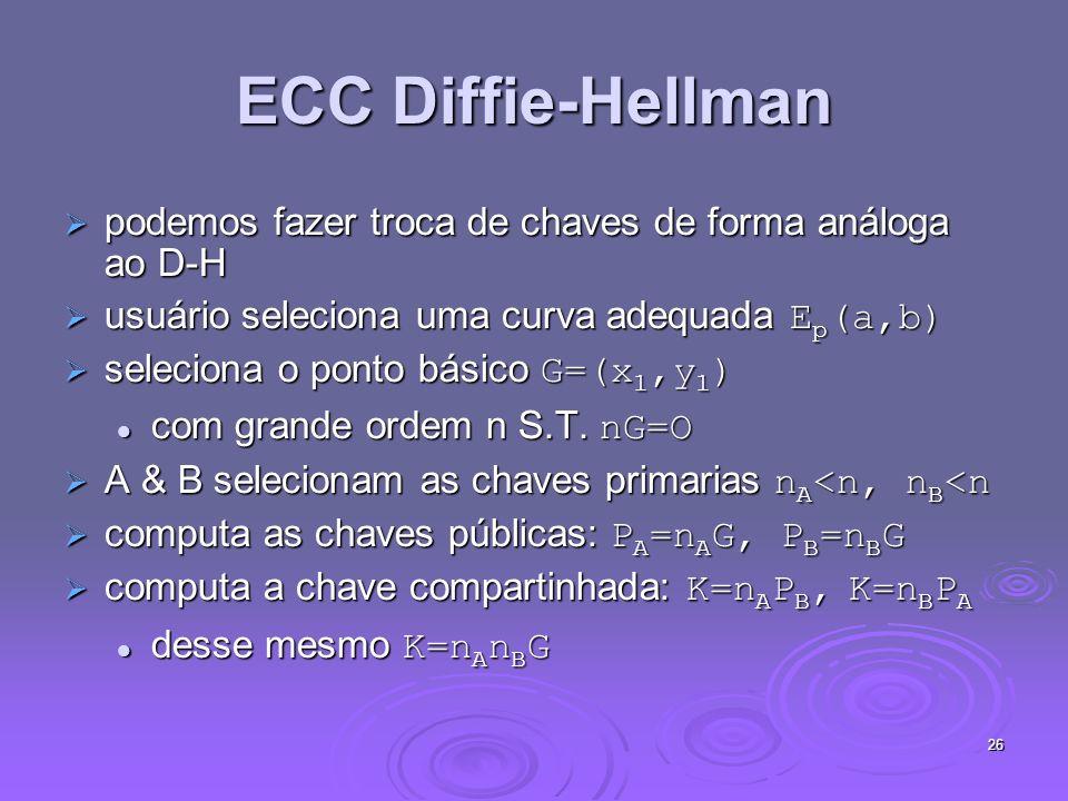 ECC Diffie-Hellman podemos fazer troca de chaves de forma análoga ao D-H. usuário seleciona uma curva adequada Ep(a,b)