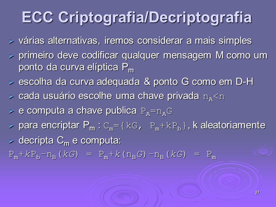 ECC Criptografia/Decriptografia