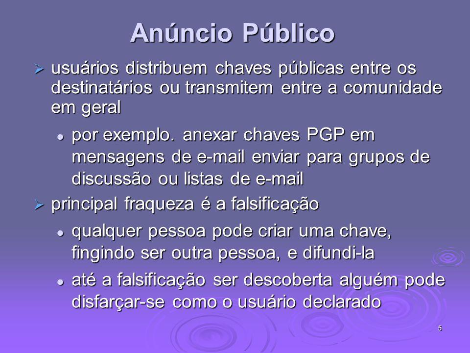 Anúncio Públicousuários distribuem chaves públicas entre os destinatários ou transmitem entre a comunidade em geral.