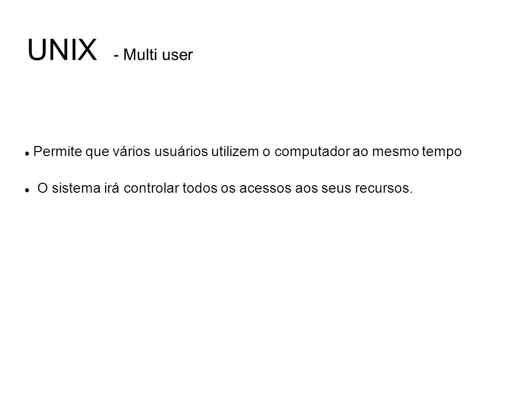 UNIX - Multi user Permite que vários usuários utilizem o computador ao mesmo tempo.