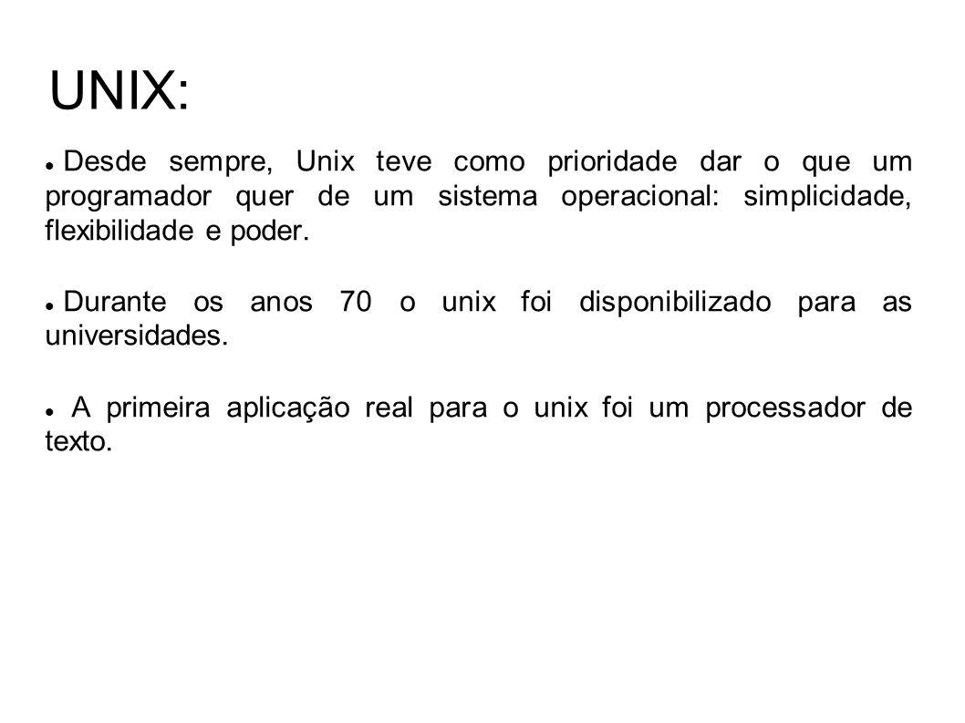 UNIX: Desde sempre, Unix teve como prioridade dar o que um programador quer de um sistema operacional: simplicidade, flexibilidade e poder.