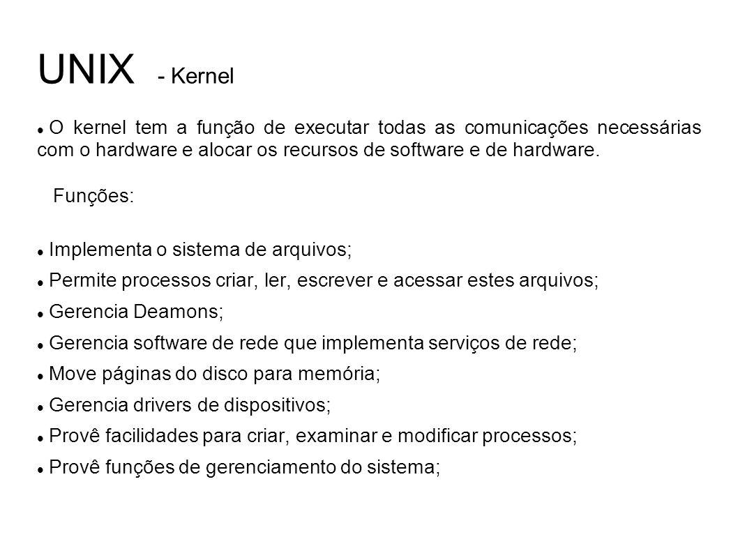 UNIX - Kernel O kernel tem a função de executar todas as comunicações necessárias com o hardware e alocar os recursos de software e de hardware.