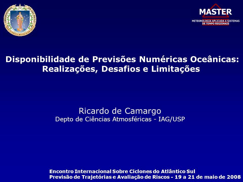 Disponibilidade de Previsões Numéricas Oceânicas: