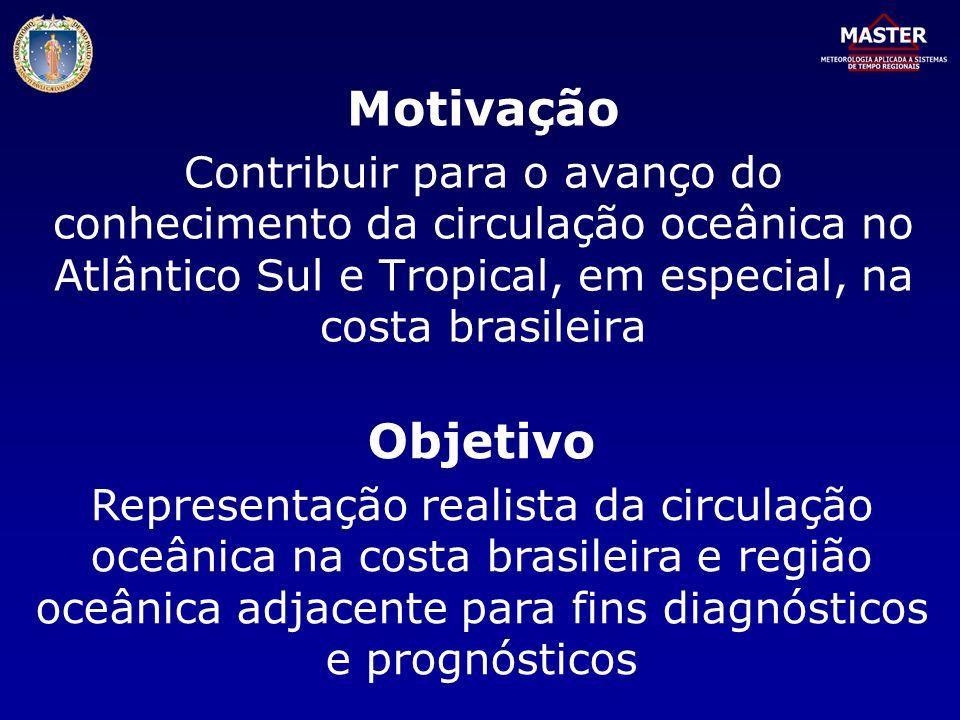 Motivação Contribuir para o avanço do conhecimento da circulação oceânica no Atlântico Sul e Tropical, em especial, na costa brasileira.
