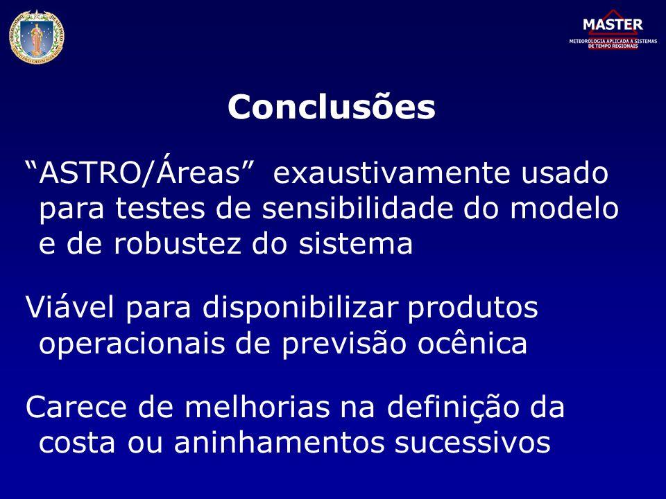 Conclusões ASTRO/Áreas exaustivamente usado para testes de sensibilidade do modelo e de robustez do sistema.