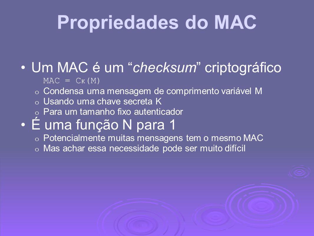 Propriedades do MAC Um MAC é um checksum criptográfico