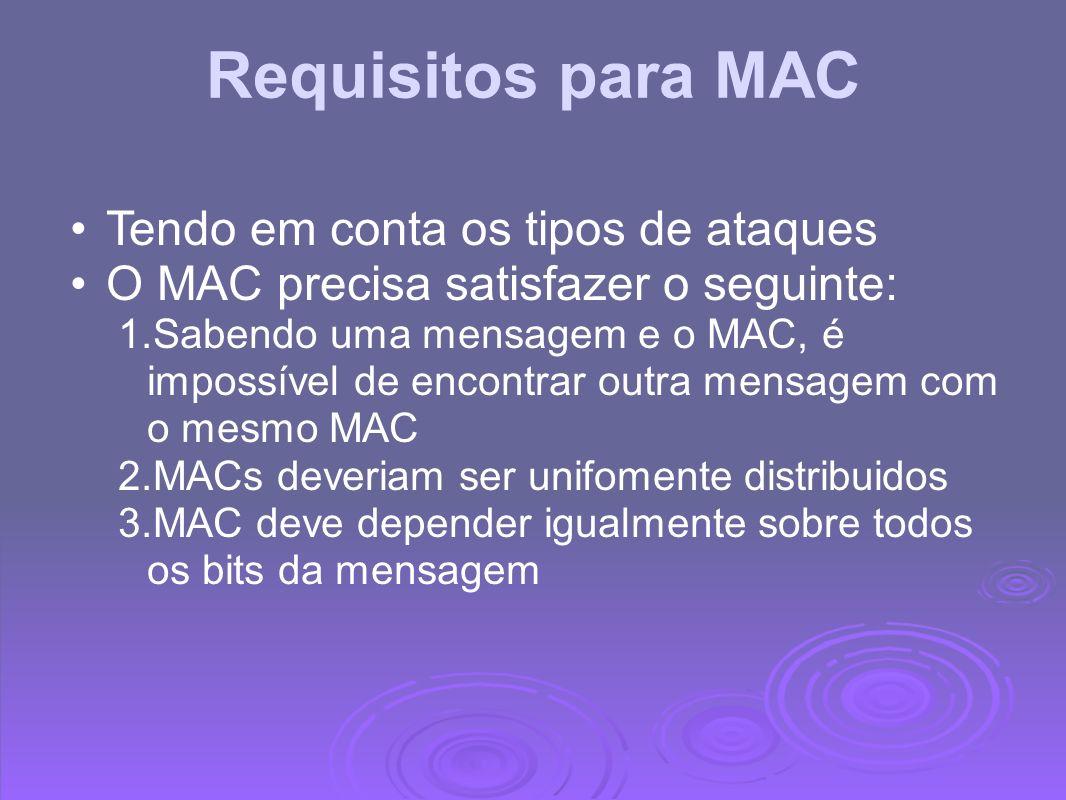 Requisitos para MAC Tendo em conta os tipos de ataques