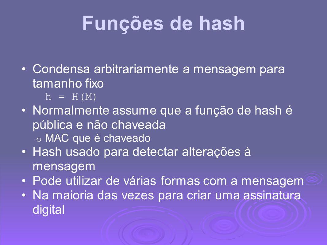Funções de hash Condensa arbitrariamente a mensagem para tamanho fixo