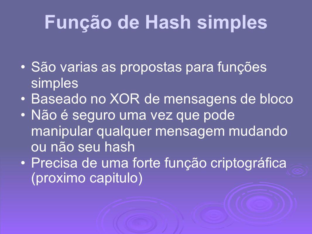 Função de Hash simples São varias as propostas para funções simples
