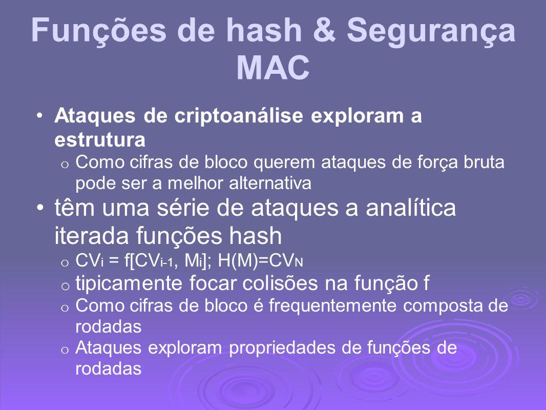 Funções de hash & Segurança MAC