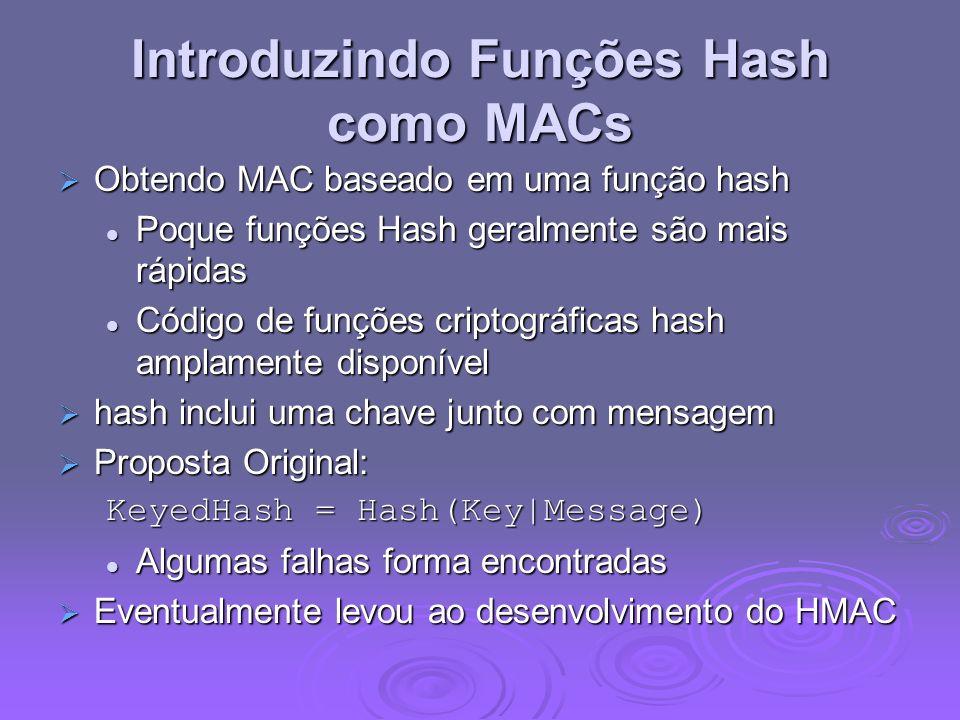 Introduzindo Funções Hash como MACs